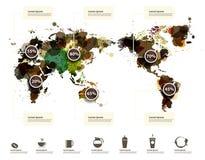 Διανυσματικός παγκόσμιος χάρτης του μελανιού καφέ splatter Στοκ φωτογραφία με δικαίωμα ελεύθερης χρήσης