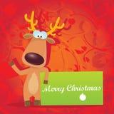 Διανυσματικός τάρανδος Χριστουγέννων που κρατά το πράσινο έμβλημα Στοκ Φωτογραφία