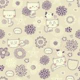 Διανυσματικό άνευ ραφής floral σχέδιο με τις αστεία γάτες και τα πουλιά Στοκ Εικόνες