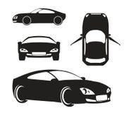 Διανυσματικό αυτοκίνητο σκιαγραφιών που απομονώνεται στο λευκό Στοκ φωτογραφία με δικαίωμα ελεύθερης χρήσης