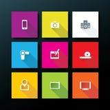 Διανυσματικό επίπεδο σύνολο εικονιδίων μέσων Στοκ εικόνες με δικαίωμα ελεύθερης χρήσης