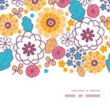 Διανυσματικό ζωηρόχρωμο ασιατικό οριζόντιο πλαίσιο λουλουδιών Στοκ Εικόνα