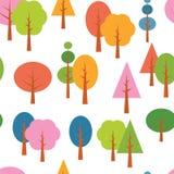 Διανυσματικό διαφορετικό υπόβαθρο εποχών δέντρων άνευ ραφής Στοκ Εικόνα