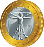 Διανυσματικό ιταλικό χρυσό νόμισμα χρημάτων ένα ευρώ (άτομο Vitruvian) Στοκ φωτογραφία με δικαίωμα ελεύθερης χρήσης