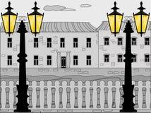 διανυσματικό λευκό νυχτών εικονικής παράστασης πόλης Στοκ Φωτογραφίες