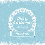Διανυσματικό μήνυμα στεφανιών Χριστουγέννων bue Στοκ Φωτογραφία