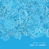 Διανυσματικό μπλε οριζόντιο πλαίσιο σύστασης τομέων floral Στοκ Φωτογραφίες