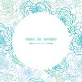 Διανυσματικό μπλε πλαίσιο κύκλων λουλουδιών τέχνης γραμμών άνευ ραφής Στοκ φωτογραφίες με δικαίωμα ελεύθερης χρήσης