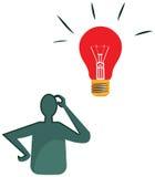Διανυσματικό σχέδιο ενός προσώπου που σκέφτεται για την ιδέα Στοκ Εικόνες