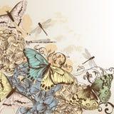 Διανυσματικό σχέδιο με τις πεταλούδες στο εκλεκτής ποιότητας ύφος Στοκ Εικόνα