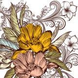 Διανυσματικό σχέδιο λουλουδιών με peony και τη διακόσμηση Στοκ φωτογραφίες με δικαίωμα ελεύθερης χρήσης
