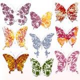Διανυσματικό σύνολο αφηρημένων πεταλούδων στροβίλου Στοκ Φωτογραφίες