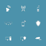 Διανυσματικό σύνολο εικονιδίων επικοινωνίας τηλεπικοινωνιών Στοκ φωτογραφία με δικαίωμα ελεύθερης χρήσης