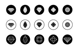 Διανυσματικό σύνολο εικονιδίων διαμαντιών Στοκ εικόνες με δικαίωμα ελεύθερης χρήσης