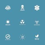 Διανυσματικό σύνολο εικονιδίων προειδοποιητικών σημαδιών Στοκ φωτογραφία με δικαίωμα ελεύθερης χρήσης