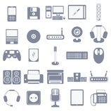 Διανυσματικό σύνολο εικονιδίων συσκευών και συσκευών μέσων υπολογιστών Στοκ Εικόνα
