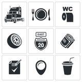Διανυσματικό σύνολο εικονιδίων φορτηγών Στοκ φωτογραφία με δικαίωμα ελεύθερης χρήσης