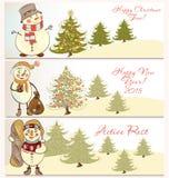 Διανυσματικό σύνολο εμβλημάτων Χριστουγέννων με τους χιονανθρώπους Στοκ εικόνα με δικαίωμα ελεύθερης χρήσης