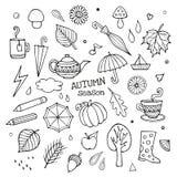 Διανυσματικό σύνολο διαφορετικών συρμένων χέρι στοιχείων φθινοπώρου Στοκ Εικόνες