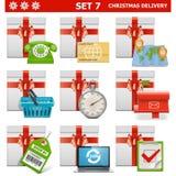 Διανυσματικό σύνολο 7 παράδοσης Χριστουγέννων Στοκ εικόνα με δικαίωμα ελεύθερης χρήσης