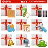 Διανυσματικό σύνολο 8 παράδοσης Χριστουγέννων Στοκ εικόνα με δικαίωμα ελεύθερης χρήσης