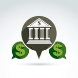 Διανυσματικό τραπεζικό σύμβολο, οικονομικό εικονίδιο οργάνων Στοκ Φωτογραφίες