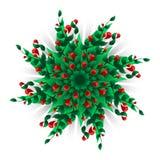 Διανυσματικό υπόβαθρο κύκλων με πολλά κόκκινα λουλούδια και πράσινα φύλλα Στοκ Εικόνες