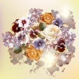 12)Διανυσματικό υπόβαθρο μόδας με τα λουλούδια στο εκλεκτής ποιότητας ύφος Στοκ Εικόνα
