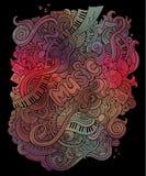 Διανυσματικό υπόβαθρο τέχνης doodles μουσικό Στοκ Εικόνα