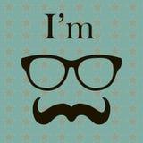 Διανυσματικό υπόβαθρο ύφους Hipster. Απεικόνιση με τα στοιχεία Hipster (γυαλιά και mustache). Τρύγος αναδρομικός Στοκ Εικόνα