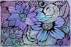 Διανυσματικό φοβιτσιάρες σχέδιο με τα λουλούδια Στοκ Εικόνες