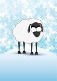 Διανυσματικό χειμερινό έμβλημα Πρόβατα Στοκ Εικόνα