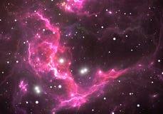 Διαστημικό υπόβαθρο με το πορφυρό νεφέλωμα και τα αστέρια Στοκ Εικόνα