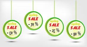 Διαφημιστικός την ετικέτα με την πώληση κειμένων, τέσσερις πράσινες Στοκ φωτογραφία με δικαίωμα ελεύθερης χρήσης