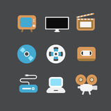 Διαφορετικά τηλεοπτικά εικονίδια βιομηχανίας καθορισμένα Επίπεδα στοιχεία σχεδίου Στοκ εικόνες με δικαίωμα ελεύθερης χρήσης
