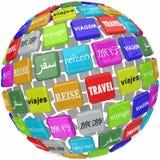 Διαφορετικός σφαιρικός κόσμος γλωσσικού πολιτισμού μεταφράσεων του Word ταξιδιού Στοκ εικόνες με δικαίωμα ελεύθερης χρήσης