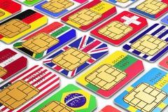 Διεθνείς κάρτες SIM με τις σημαίες Στοκ Εικόνα