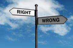 Δικαίωμα και λανθασμένος Στοκ εικόνα με δικαίωμα ελεύθερης χρήσης