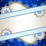 Δονούμενο μπλε έμβλημα που εμπνέεται από το ινδικό desi mehndi Στοκ φωτογραφία με δικαίωμα ελεύθερης χρήσης