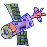 Δορυφόρος watercolor παιδιών κινούμενων σχεδίων σχεδίων στο λευκό Στοκ εικόνα με δικαίωμα ελεύθερης χρήσης