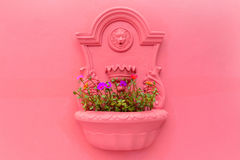 Δοχείο λουλουδιών στον τοίχο Στοκ φωτογραφία με δικαίωμα ελεύθερης χρήσης