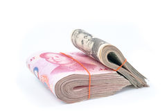 Δολάριο ΗΠΑ και RMB κινέζικα Στοκ Εικόνα