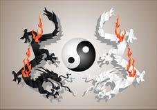 δράκοι yang yin Στοκ Φωτογραφίες