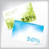 Δροσερές κάρτες δώρων με τις εκπτώσεις Στοκ Φωτογραφία