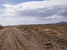 Δρόμος αμμοχάλικου - Fuerteventura, Κανάριες Νήσοι, Ισπανία Στοκ Εικόνες