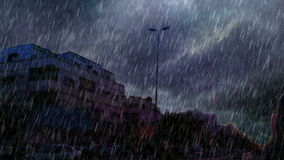 Δρόμος στο νότο jeddah με τη δυνατή βροχή απόθεμα βίντεο