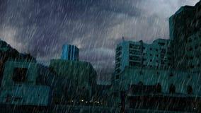 Δυνατή βροχή και αστραπή πέρα από το παλαιό maket φιλμ μικρού μήκους