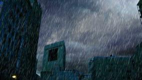 Δυνατή βροχή πέρα από τα κτήρια στα ξημερώματα απόθεμα βίντεο