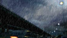 Δυνατή βροχή πέρα από τη γέφυρα απόθεμα βίντεο