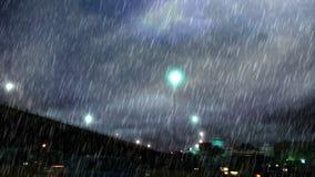 Δυνατή βροχή πέρα από το τετράγωνο κάτω από τη γέφυρα απόθεμα βίντεο